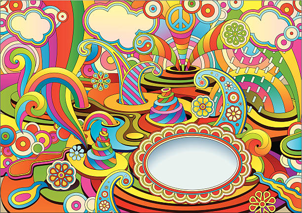 psychedelic background in a retro style vector art illustration
