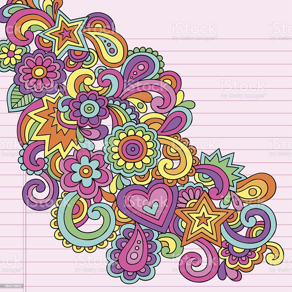 Psychedelic Groovy Doodles Vector Design Element vector art illustration