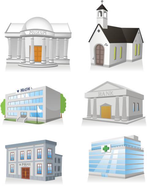 illustrations, cliparts, dessins animés et icônes de bâtiment public église hôpital commissariat de police museum school bank - commissariat