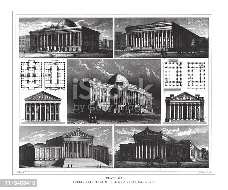 Public Buildings of the Neo-Classical Style Engraving Antique Illustration, Published 1851. Source: Original edition from my own archives. Copyright has expired on this artwork. Digitally restored.