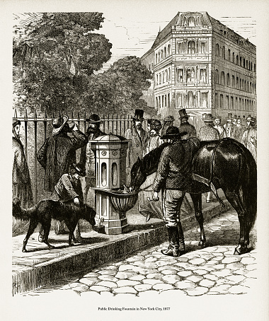 Public Drinking Fountain in New York City Victorian Engraving, 1877