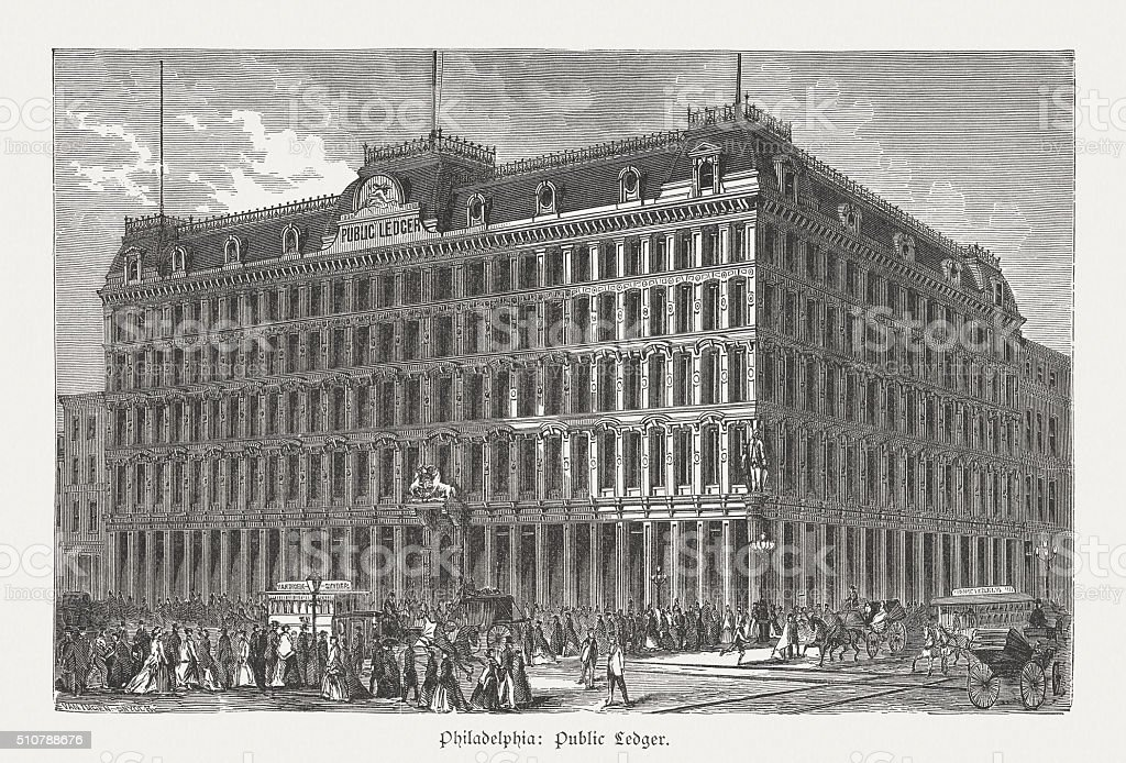 Public Ledger Building in Philadelphia, wood engraving, published in 1880 vector art illustration
