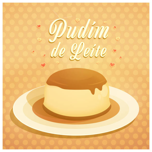 Pudim de Leite Pudim de Leite. Milk Pudding written in Brazilian Portuguese. Love pudding. Illustration. Dessert background. leite stock illustrations