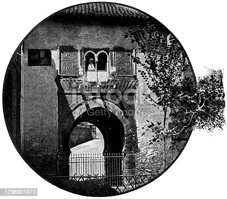 istock Puerta del Vino at the Alhambra in Granada, Spain - 19th Century 1296901672