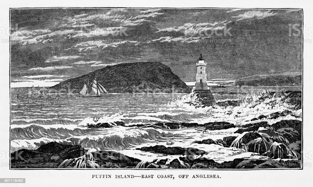 Puffin Island in Anglesey, Wales Victorian Engraving, 1840 vector art illustration