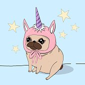 Creative conceptual still life illustration. Pug dog puppy wearing hat with unicorn horn.