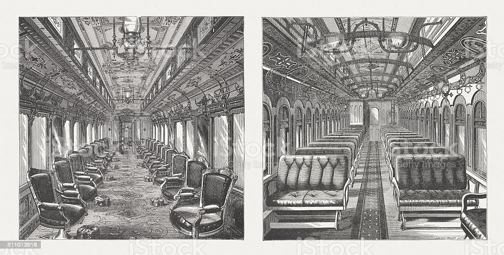 Pullman cars, interior views, wood engravings, published in 1880 vector art illustration