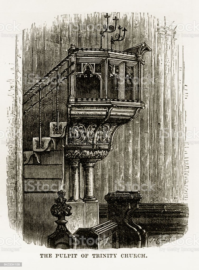 Pulpit of Trinity Church, Litchfield, Staffordshire, England Victorian Engraving, 1840 vector art illustration