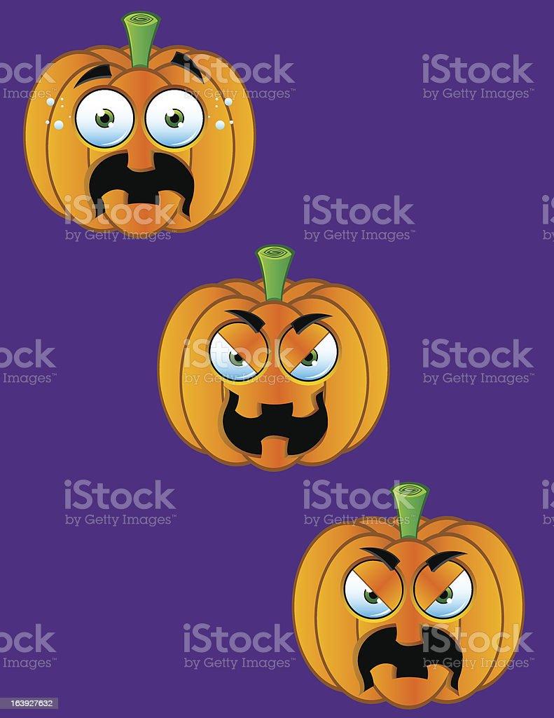 Pumpkin Faces - Set 4 royalty-free stock vector art