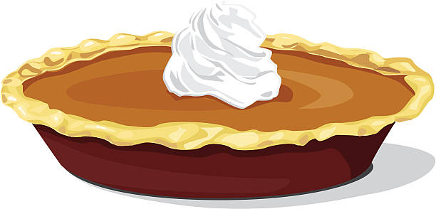 Pumpkin Pie with Whipped Cream vector art illustration