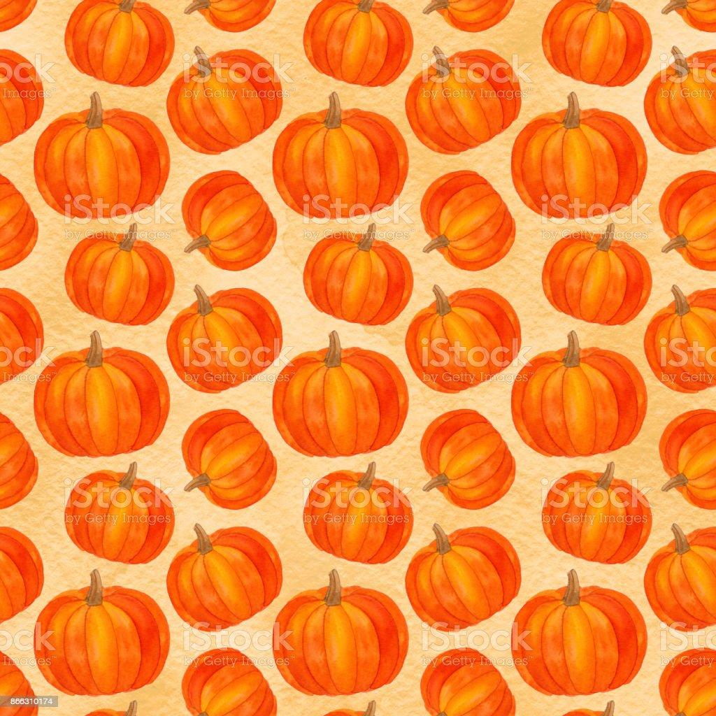 Kurbis Musterdesign Herbst Ernte Aquarell Thanksgiving Wallpaper Mit