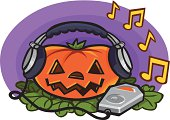 Pumpkin With MP3 Player and Headphones