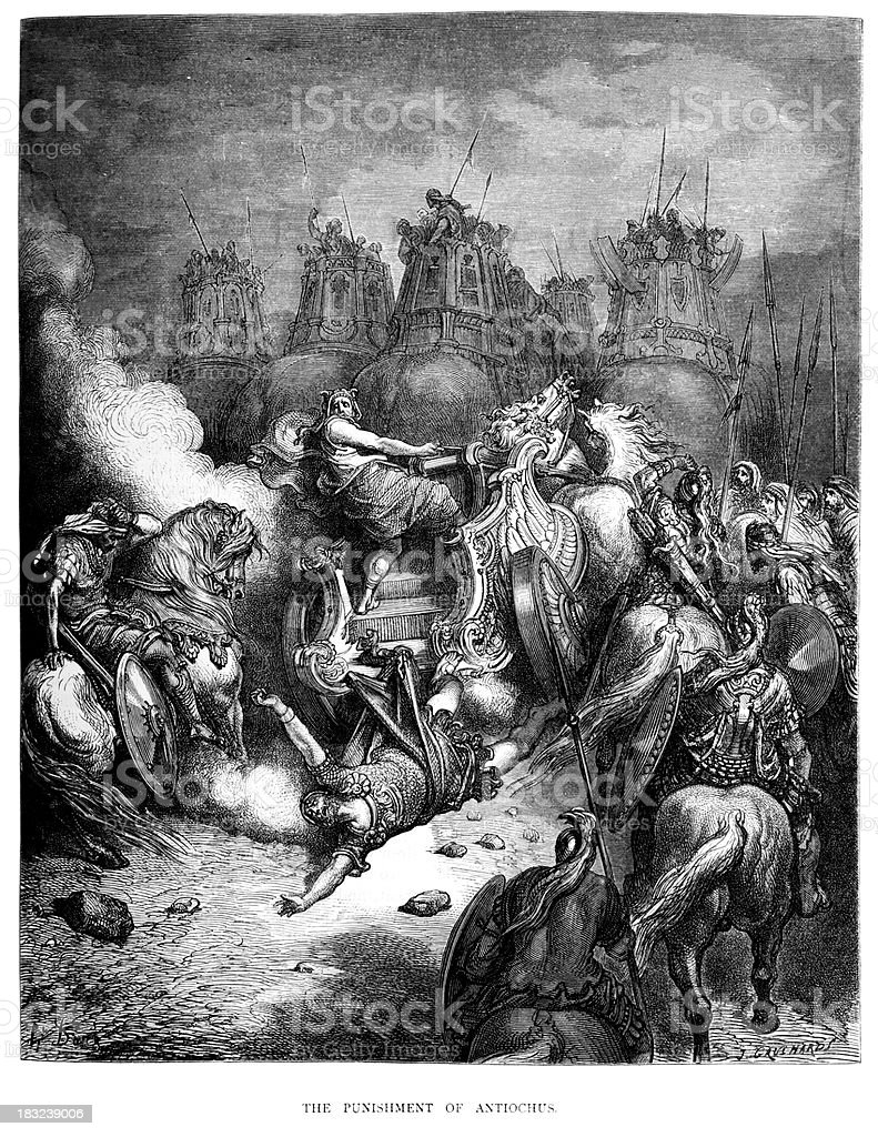 Punishment of Antiochus royalty-free stock vector art