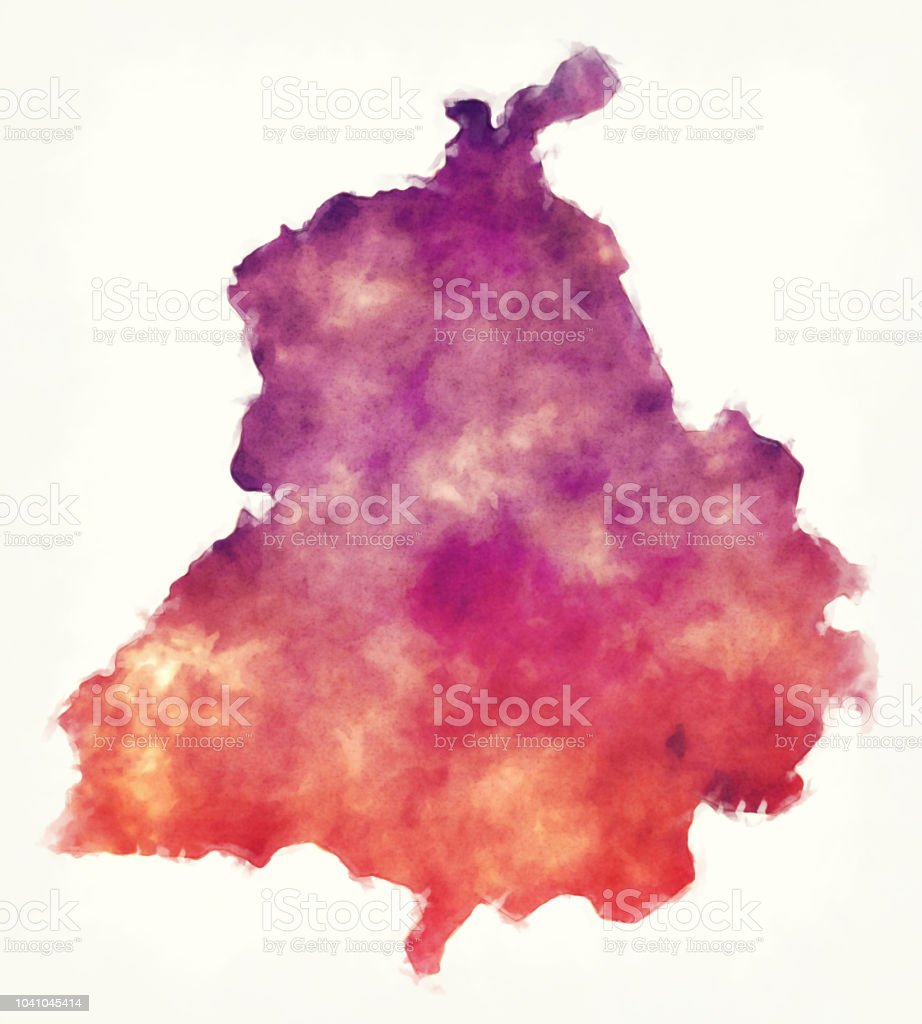 Punjab Federal State Watercolor Map Of India In Front Of A