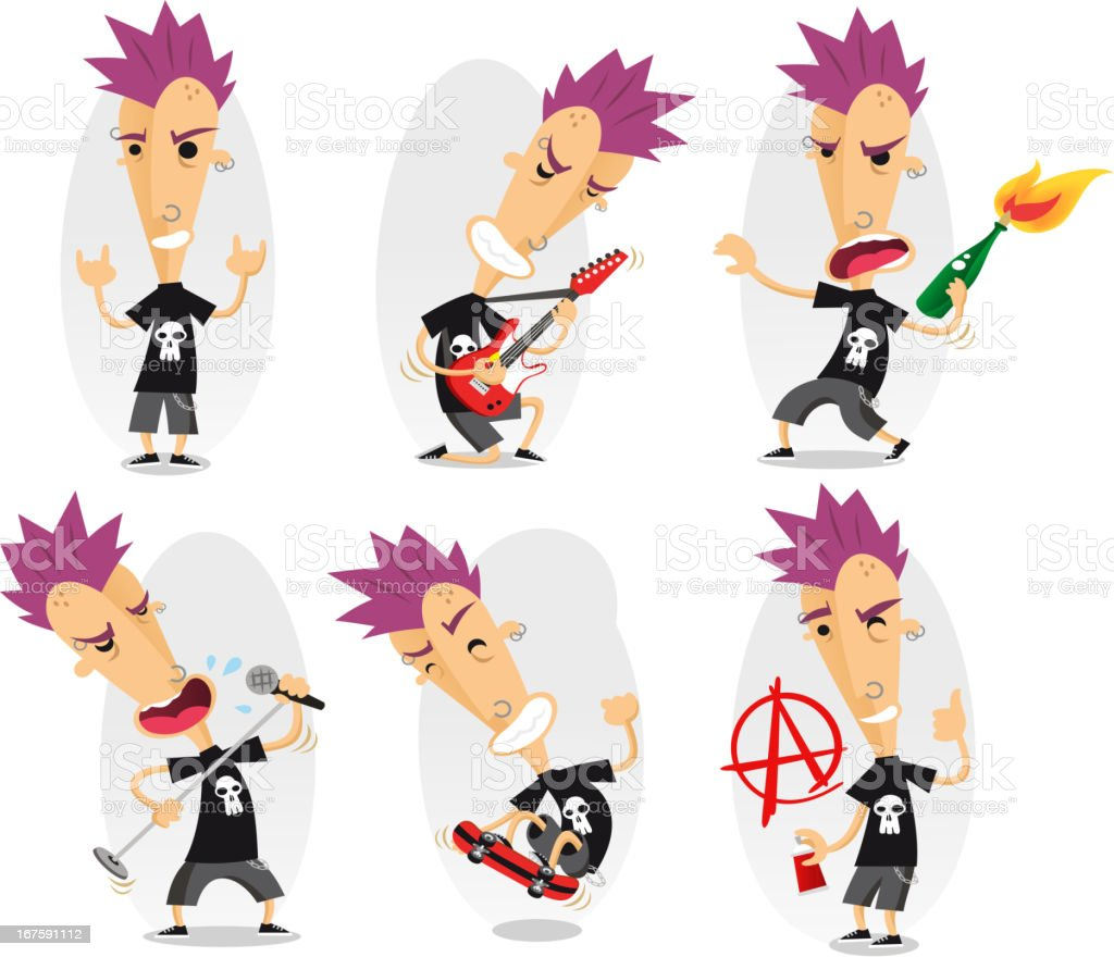 punk action set royalty-free stock vector art