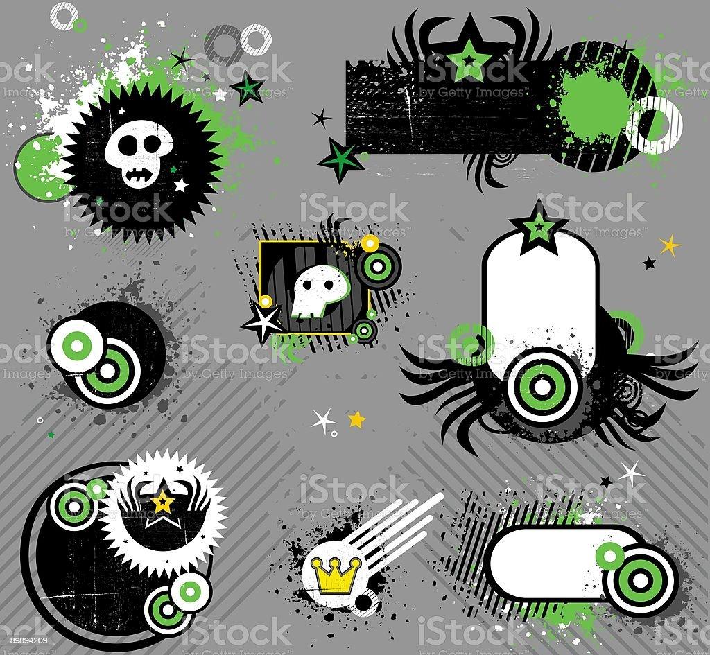 Punk set of design elements vector art illustration