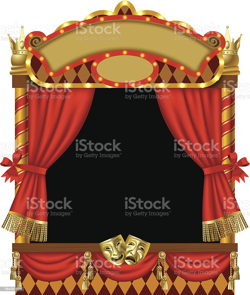 Puppet show booth vector art illustration