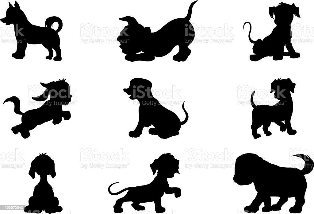 Puppies (cartoon style) vector art illustration