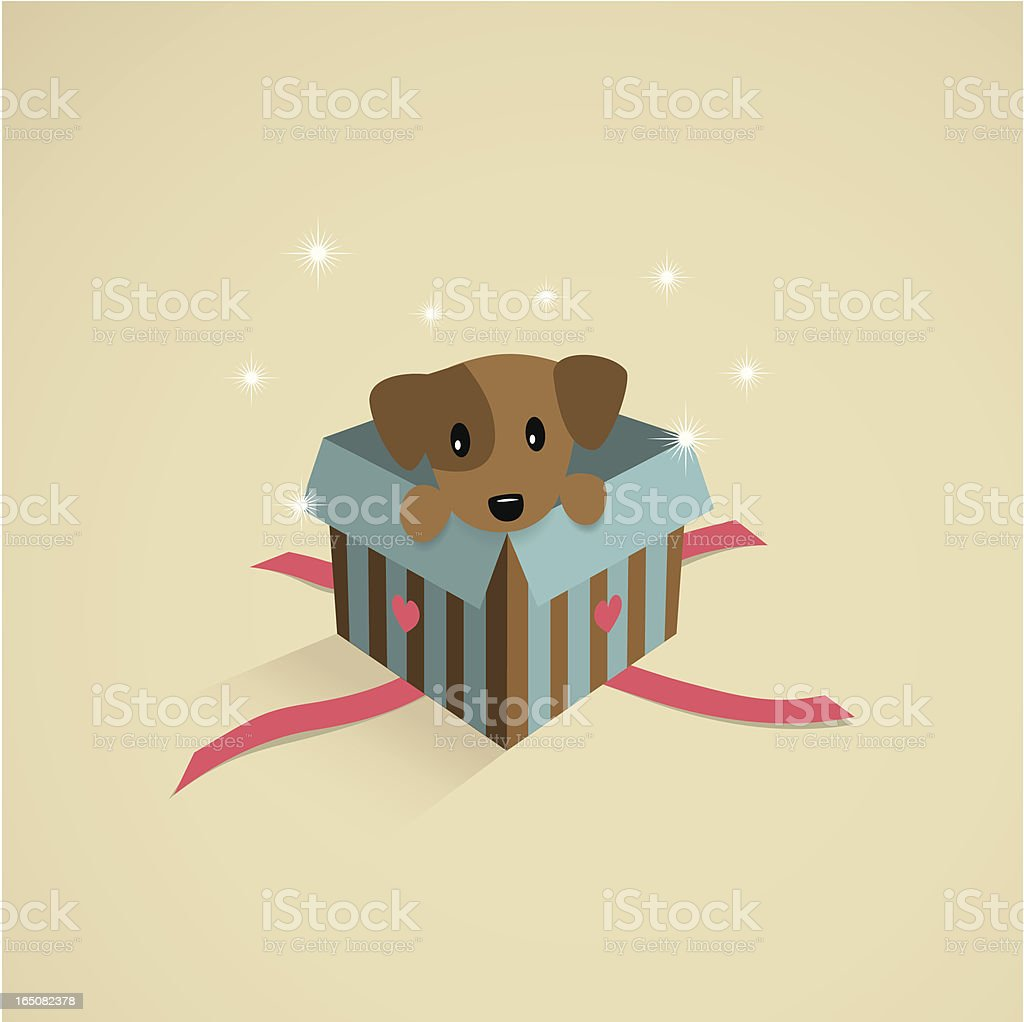 Puppy in a gift box royalty-free stock vector art