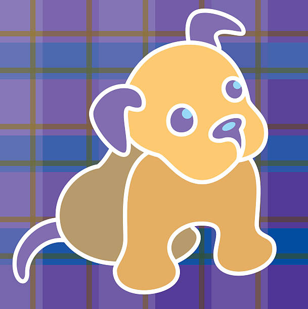 Puppy on plaid.eps vector art illustration