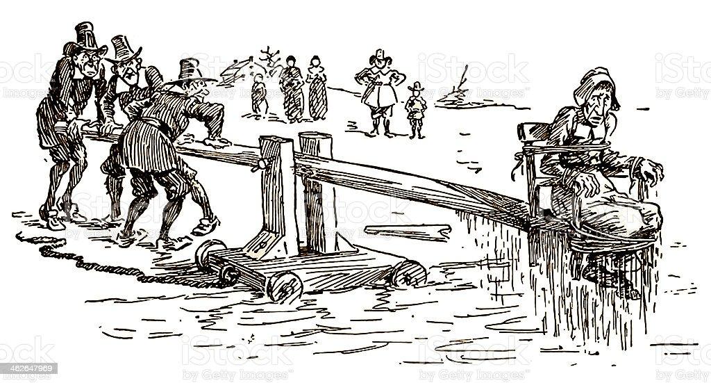 Puritan Ducking Chair Colonial Public Punishment vector art illustration