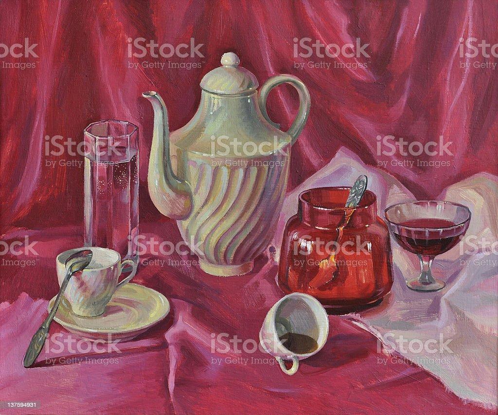 Purple breakfast - Royalty-free Art stock illustration