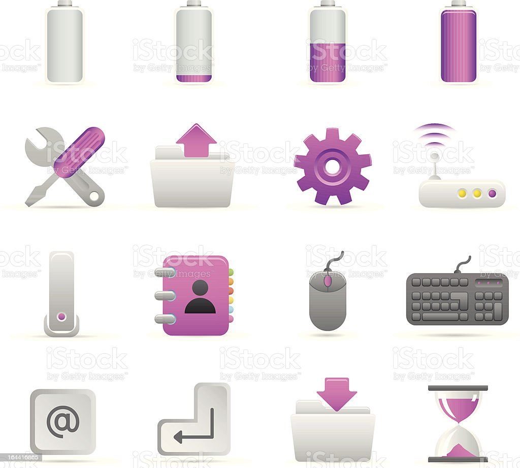 Purple Computer Icons royalty-free stock vector art