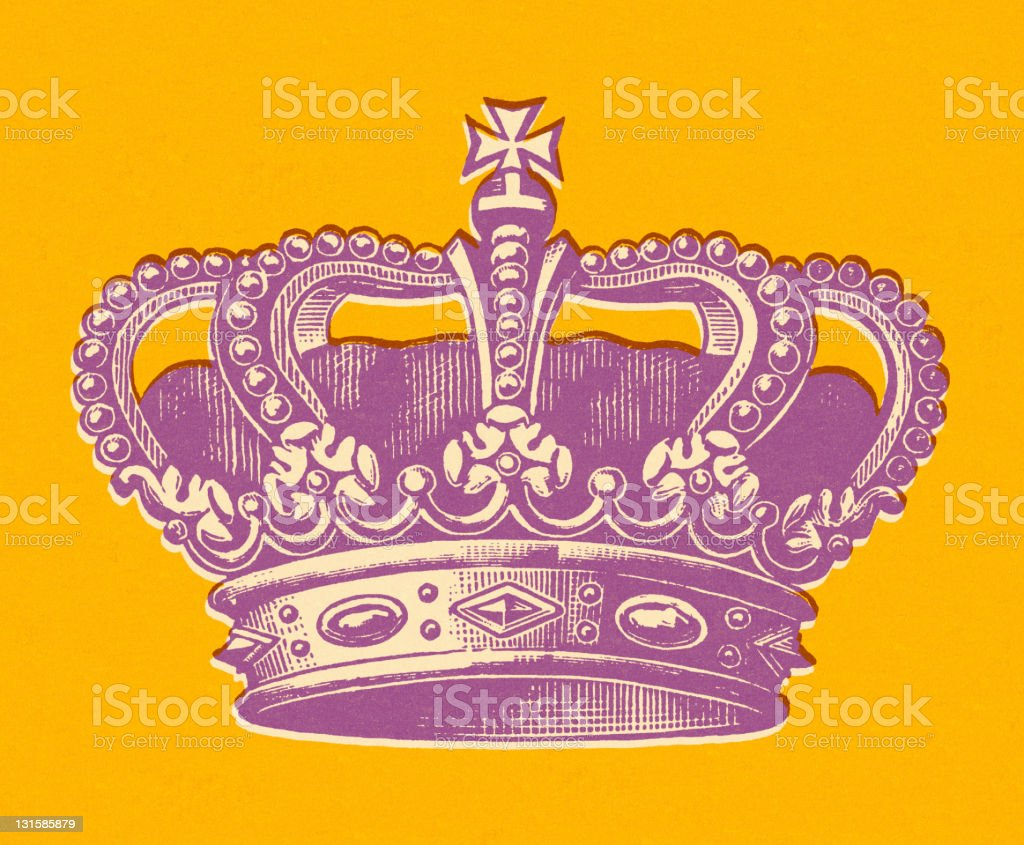 Purple Crown on Orange Background royalty-free stock vector art