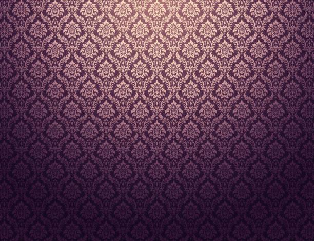 Purple damask pattern background Purple damask wallpaper with golden floral patterns tapestry stock illustrations