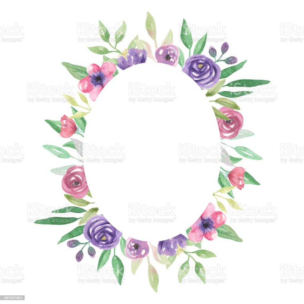 Ilustración De Marco Floral Ovalada Acuarela De Flor Morada