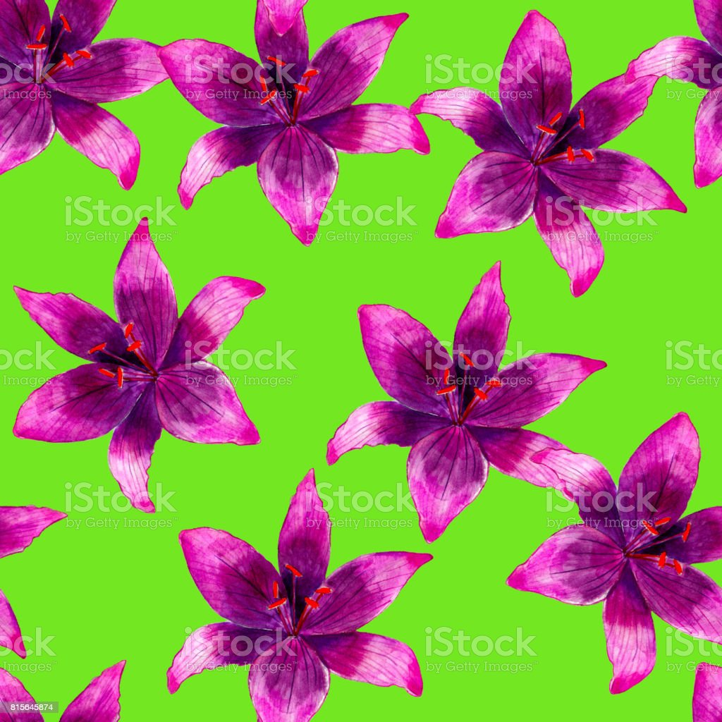 Purple lily flower watercolor seamless pattern bright tropical purple lily flower watercolor seamless pattern bright tropical flowers isolated on green background hand izmirmasajfo