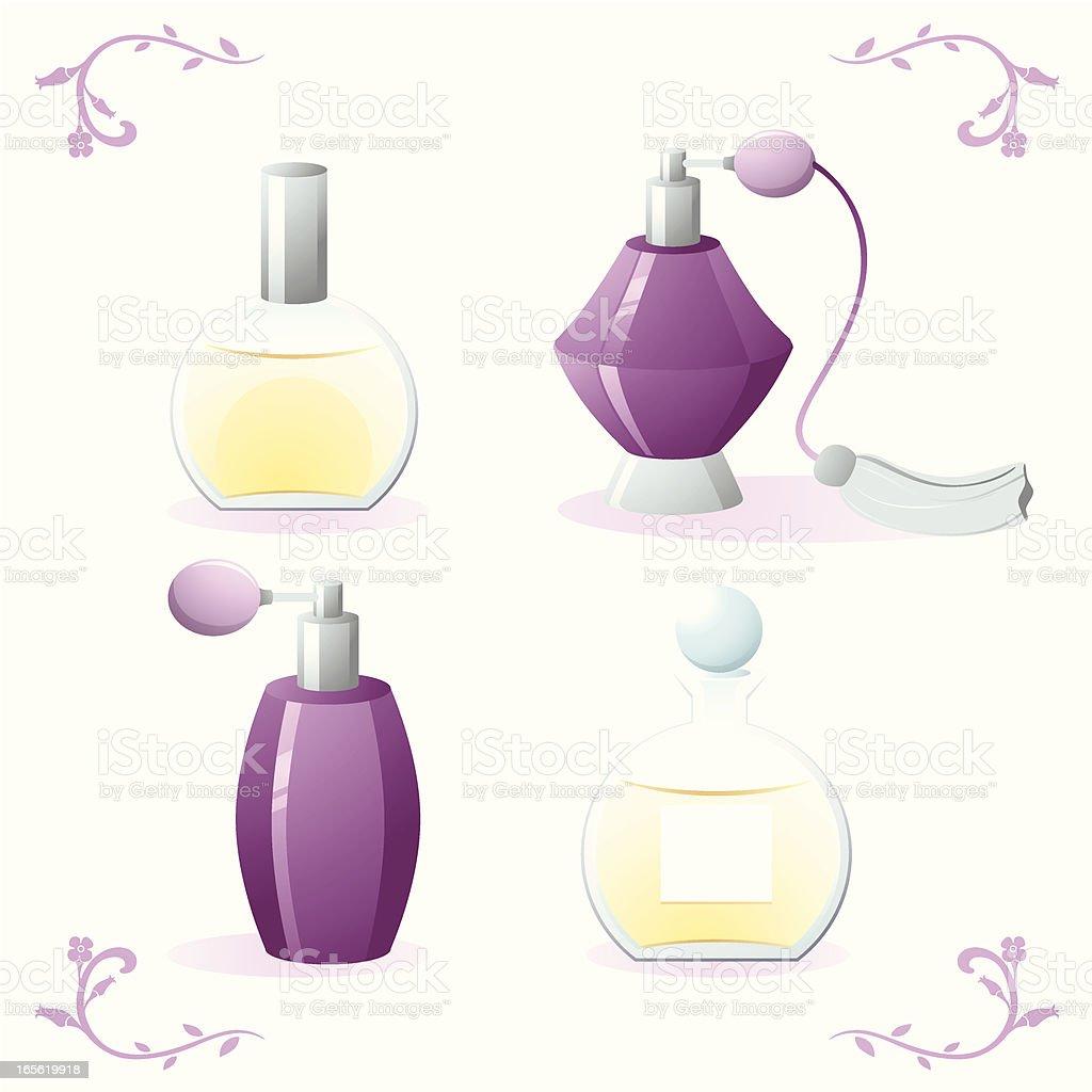 Roxo frascos de perfume - ilustração de arte em vetor