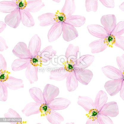 istock Purple summer watercolor flowers seamless pattern. 1318150103