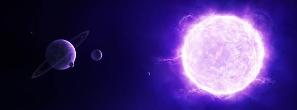 illustrazioni stock, clip art, cartoni animati e icone di tendenza di viola sole nello spazio e pianeti - flare