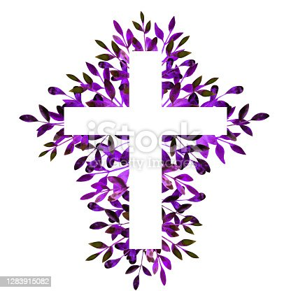 istock Purple watercolor floral religious cross on a white background. Catholic and Orthodox illustration. Easter, Baptism, First Communion clipart. Hand-drawn Christian symbol. Frame. 1283915082