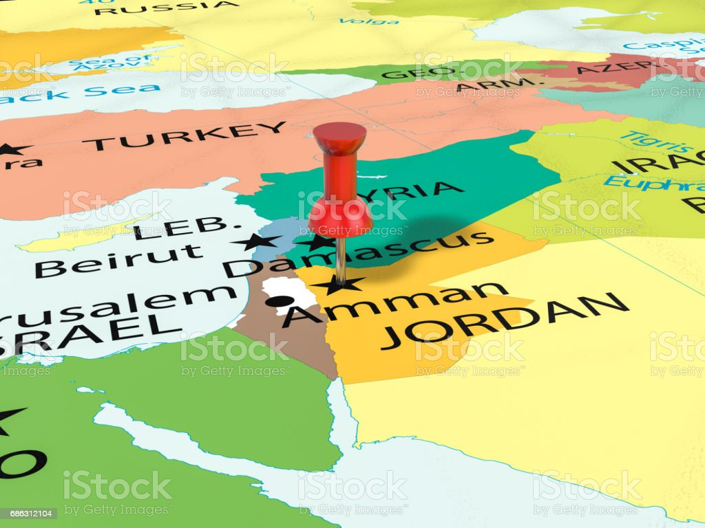 Pushpin on amman map stock vector art 686312104 istock amman jordan middle east map world map africa gumiabroncs Choice Image