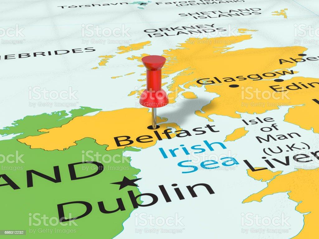 Pushpin on Belfast map vector art illustration