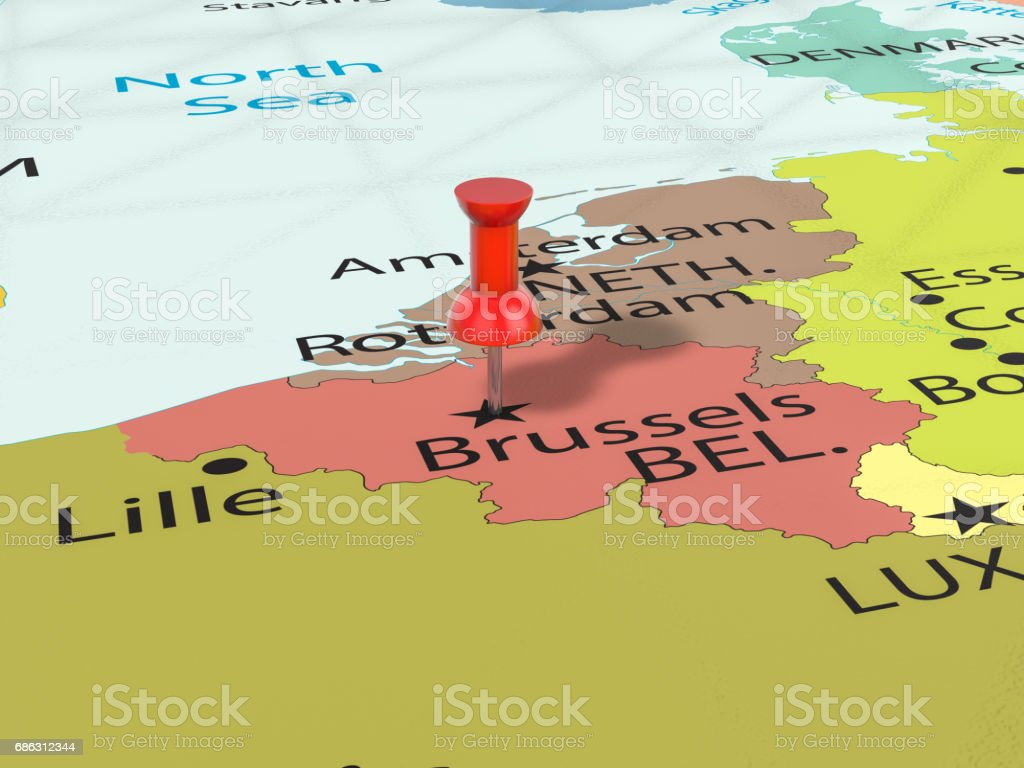 Punaise op Brussel kaartvectorkunst illustratie