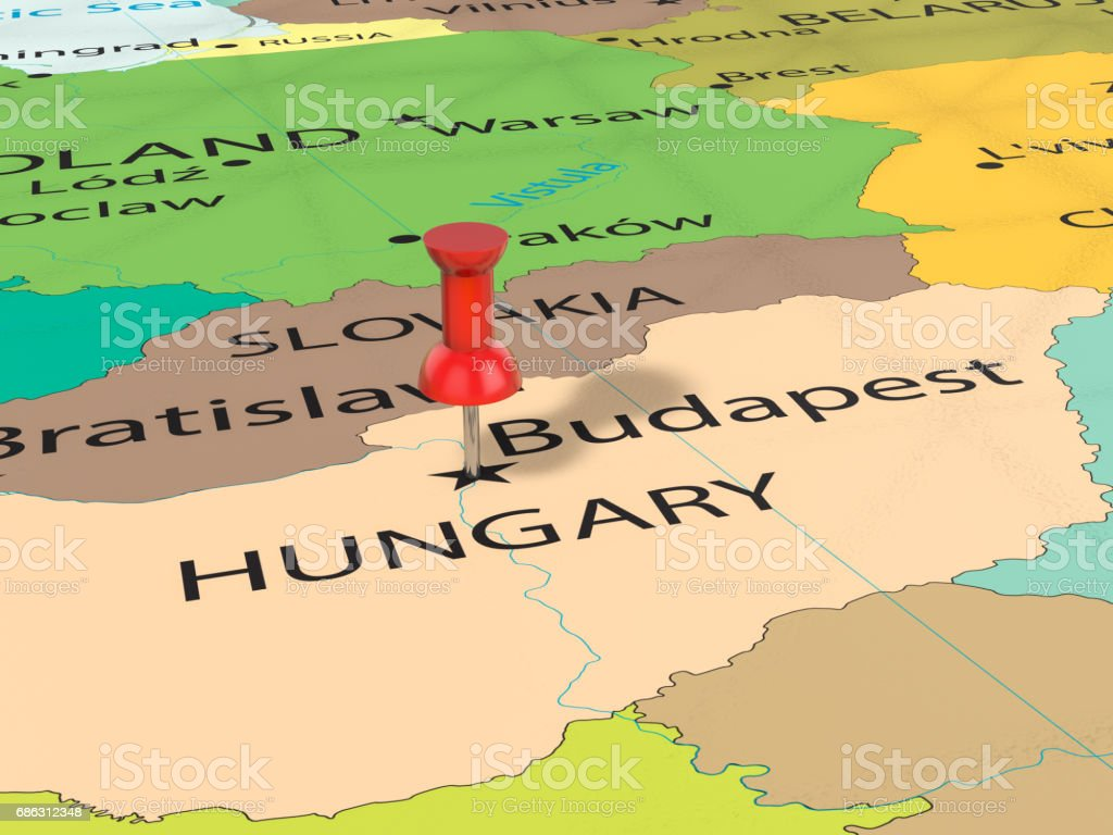 Pushpin on budapest map stock vector art more images of budapest map world map budapest bulgaria europe pushpin on gumiabroncs Image collections