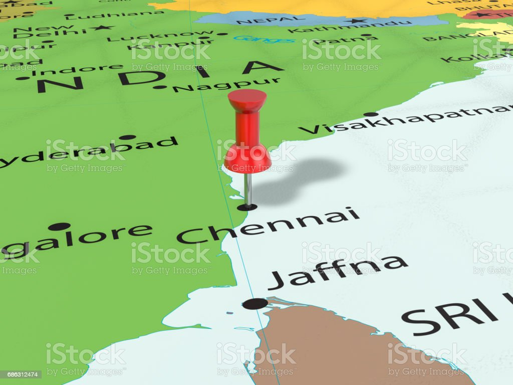 Pushpin On Chennai Map Stock Vector Art More Images of Asia