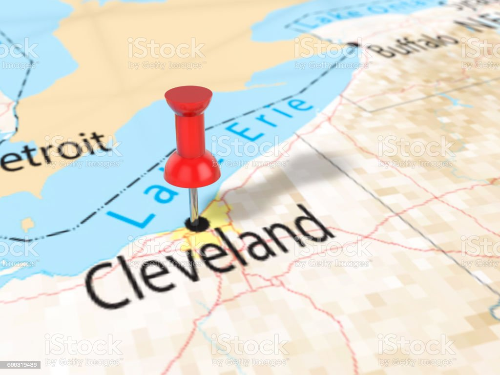 Pushpin On Cleveland Map Stock Vector Art IStock - Usa map cleveland