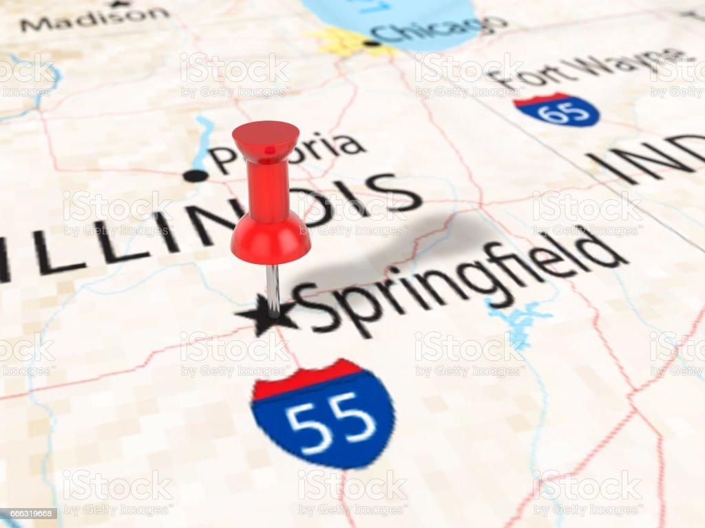 Pushpin on Springfield map vector art illustration