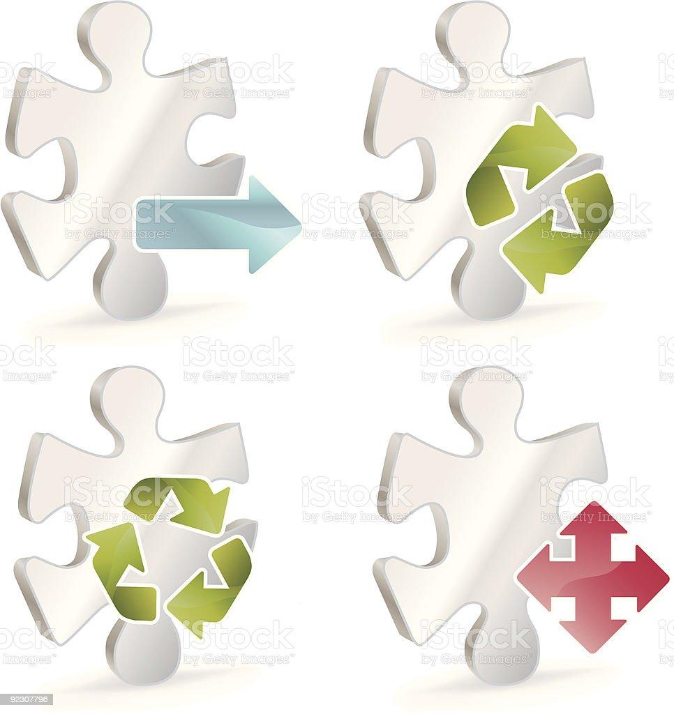 Puzzle Arrow Decision Icons vector art illustration