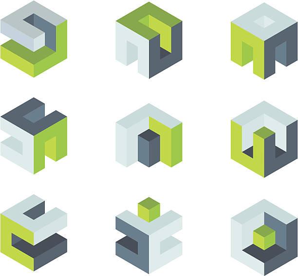 Puzzle box icon set. vector art illustration