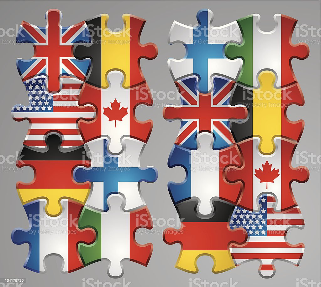Puzzle flag icons 1 royalty-free stock vector art