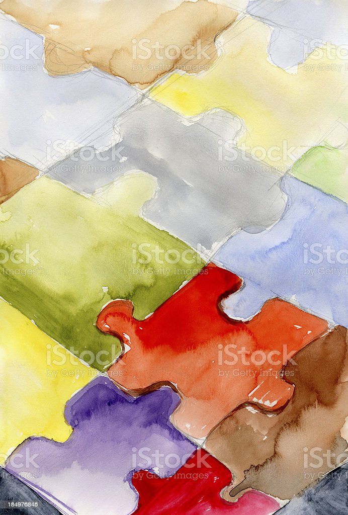 Puzzle Watercolor on Paper royalty-free stock vector art