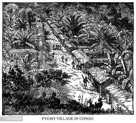Pygmy village in Congo. - Scanned 1890 Engraving