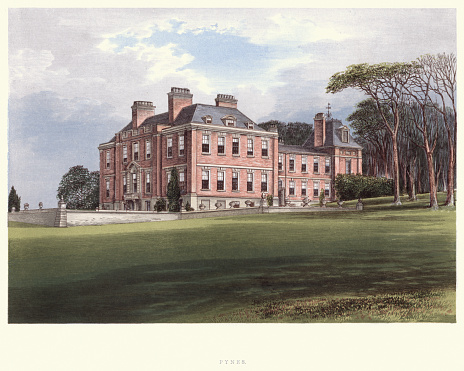 Vintage engraving of Pynes House a Queen Anne style country house built by Hugh Stafford between around 1700 and 1725, situated in the parish of Upton Pyne, Devon. A Series of Picturesque Views of Seats of the Noblemen and Gentlemen of Great Britain and Ireland