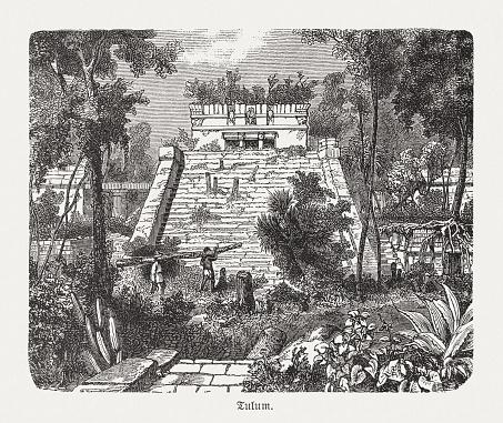 Pyramid El Castillo in Tulum, Mexico, wood engraving, published 1893