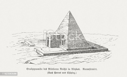 Pyramid of Pharaoh Ahmose I, Abydos, Egypt. Visual reconstruction. From the original pyramid, today only a pile of rubble remains, reaching a height of about 10 meters. Wood engraving, published in 1879.